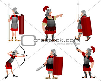 Six roman warriors