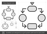 Flow diagram line icon.