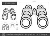 Binoculars line icon.