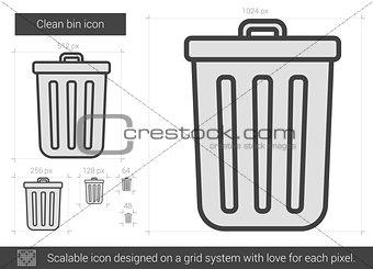 Clean bin line icon.