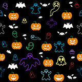 Seamless Halloween ghost, bats, pumpkins pattern on black