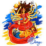 Goddess Durga in Subho Bijoya Happy Dussehra background