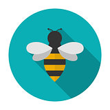 Bee icon flat