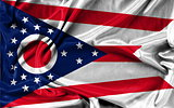 Ohio flag pattern on the fabric texture