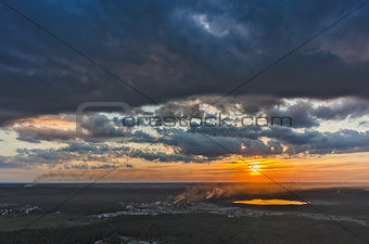 Aerial view above industrial area. Vinzili. Russia