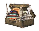 Famous monuments of the world in vintage suitcase