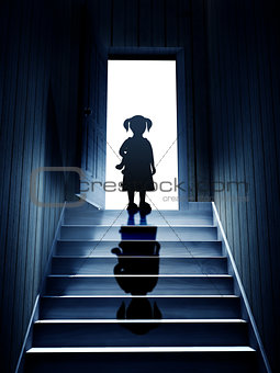 Little girl on steps leading from a dark basement to open the do