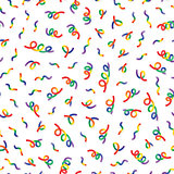 Vector Seamless Multicolor Memphis Style Confetti Lines Jumble Pattern