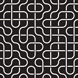Vector Seamless Black and White Rounded Lines Lattice Irregular Pattern