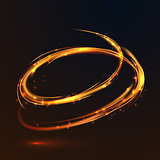 Glowing fire gold circle light effect on black background
