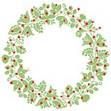 Green and red christmas vector wreath isolated on white background