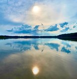 Beautiful panoramic view of the Lemiet lake in Mazury district, Poland. Fantastic travel destination.