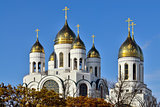 Domes of the church  Christ the Savior. Kaliningrad, Russia