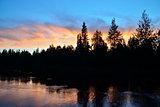 Romantic sunset on the river Pongoma. Karelia, Russia
