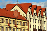 Half-timbered architecture. Fishing Village, Kaliningrad,