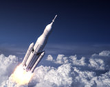 Space Launch System Takes Off In The Blue Sky