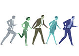 Businessmen running with competitors