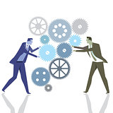 Businessmen with gears in teamwork