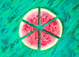 Watermelon slices. View from above