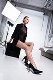 Glamorous woman in underwear