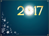 happy new year 2017 with clock abtract background