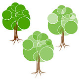 Cartoon green summer tree with a crown of circles  different diameters. Abstract trunk and roots.