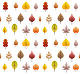 Vector fall leaves tree seamless background