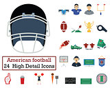 Set of 24 American football Icons