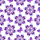 Seamless pattern with violet vintage flowers