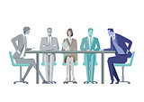 Group of business people around a conference table