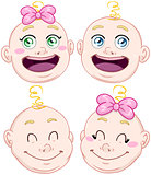 Cute Baby Boy And Girl Head Set