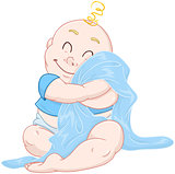 Cute Baby Boy Hugs Blue Blanket