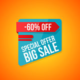 Big sale banner, 60 off, best offer