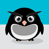 Abstract cute angry pinguin on a blue background