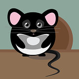 Abstract cute gray sad mouse. Nice character for kids illustration