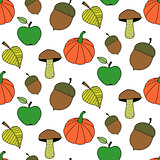 Trendy Cartoon Autumn Seamless Pattern