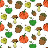 Trendy Cartoon Autumn Seamless Pattern