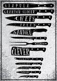 poster with burlap texture with different types of kitchen knives