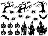 Set of Halloween vector silhouettes and stencils