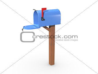 3D Rendering of a blue Mailbox open