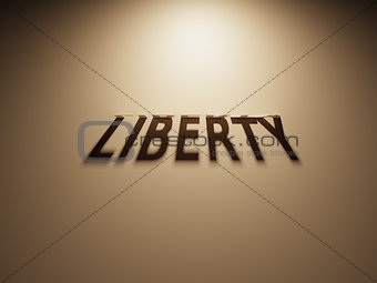 3D Rendering of a Shadow Text that reads Liberty