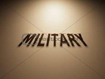 3D Rendering of a Shadow Text that reads Military