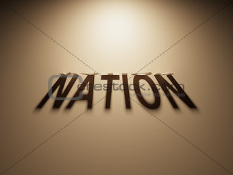 3D Rendering of a Shadow Text that reads Nation