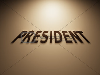 3D Rendering of a Shadow Text that reads President