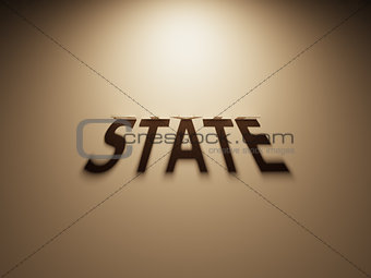 3D Rendering of a Shadow Text that reads State