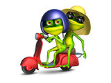 3D Illustration of a Frogs on a Red Motor Scooter