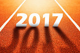 2017 Happy New Year, athletics sport running track concept