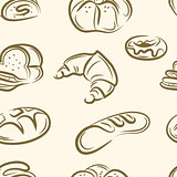 doodle bread set .Seamless pattern . Vector