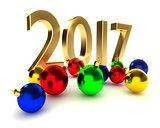 2017 new year, christmas balls