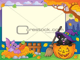 Autumn frame with Halloween cat theme 1